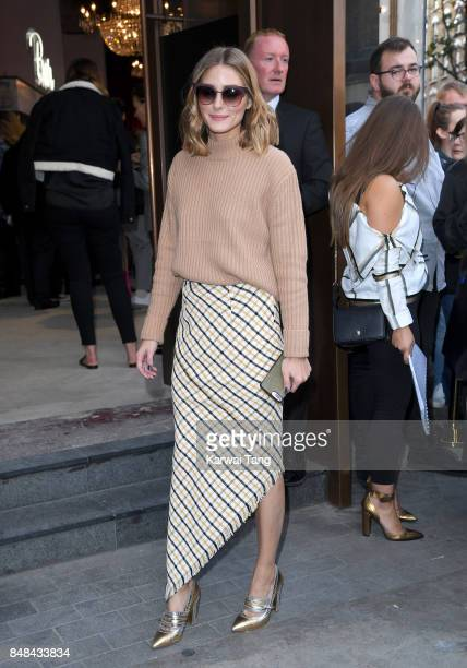 Olivia Palermo arrives for the TOPSHOP Fashion show during London Fashion Week September 2017 on September 17 2017 in London England