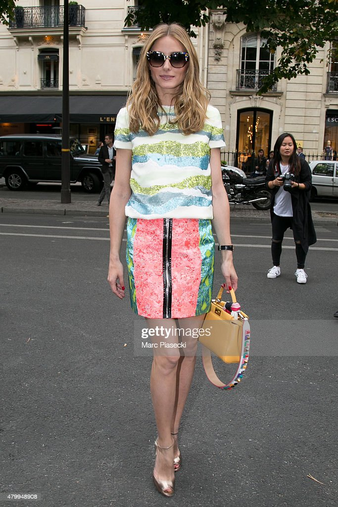 Olivia Palermo arrives to attend the Fendi show as part of Paris Fashion Week Haute Couture Fall/Winter 2015/2016 on July 8 2015 in Paris France