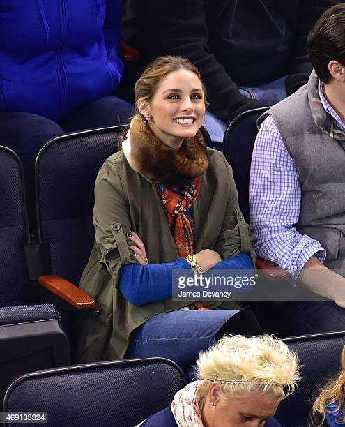 Olivia Palermo attends Ottawa Senators vs New York Rangers game at Madison Square Garden on April 9 2015 in New York City