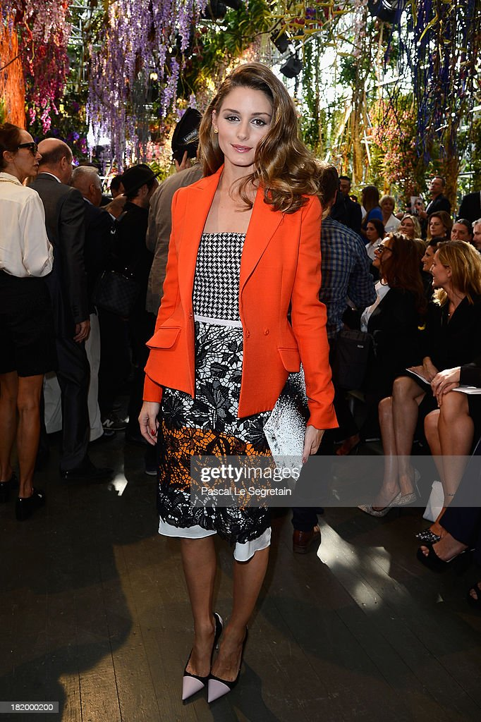 Olivia Palermo attends the Christian Dior show as part of the Paris Fashion Week Womenswear Spring/Summer 2014 at Musee Rodin on September 27 2013 in...