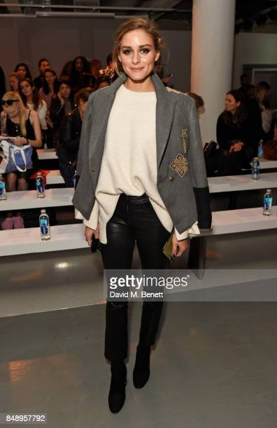 Olivia Palermo attends the David Koma SS18 catwalk show during London Fashion Week September 2017 at The National Theatre on September 18 2017 in...