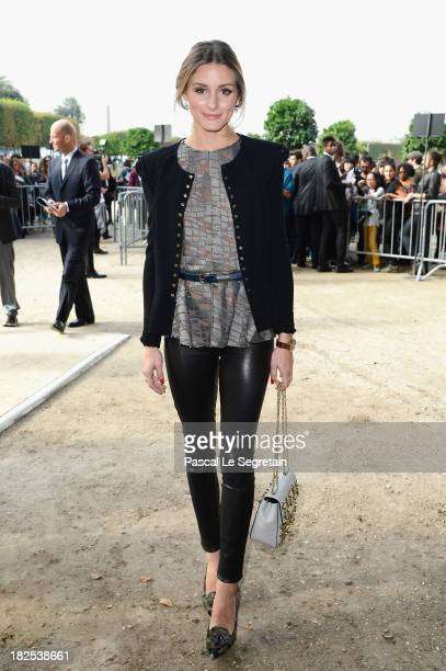 Olivia Palermo attends the Elie Saab show as part of the Paris Fashion Week Womenswear Spring/Summer 2014 at Espace Ephemere Tuileries on September...
