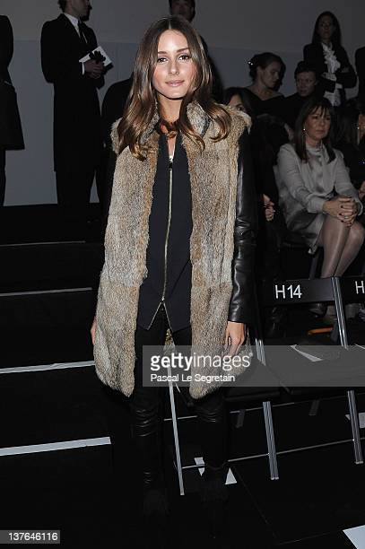 Olivia Palermo attends the Giorgio Armani Prive HauteCouture Spring / Summer 2012 show as part of Paris Fashion Week at Grand Palais on January 24...