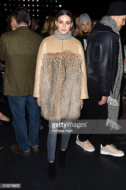Olivia Palermo attends the Prabal Gurung Fall 2016 fashion show during New York Fashion Week The Shows at The Arc Skylight at Moynihan Station on...