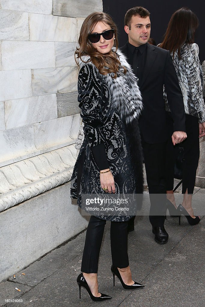 Olivia Palermo attends the Roberto Cavalli fashion show as part of Milan Fashion Week Womenswear Fall/Winter 2013/14 on February 23, 2013 in Milan, Italy.