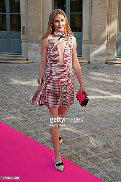 Olivia Palermo attends the Schiaparelli show as part of Paris Fashion Week Haute Couture Fall/Winter 2015/2016 on July 6 2015 in Paris France