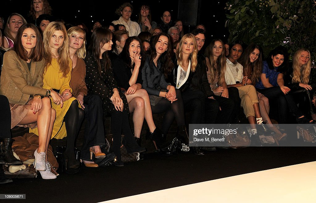 Olivia Palermo, Clemence Posey, Kirsten Dunst, Leith Clark, Gemma Arterton, Rebecca Hall, Rosamund Pike, Nichohlas Hoult, Harley Viera Newton, VV Brown, Jade Williams, Marina Diamandis, and Clara Paget sit in the front row at the Mulberry Salon Show at London Fashion Week Autumn/Winter 2011 at Claridge's Hotel on February 20, 2011 in London, England.
