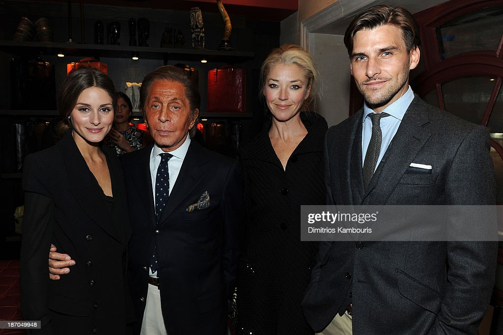 Olivia Palermo, designer Valentino Garavani, Tamara Beckwith and Johannes Huebl attend a book signing for Giancarlo Giammetti's Autobiography 'Private Giancarlo Giammetti,' hosted by Martine and Prosper Assouline at Assouline Boutique at The Plaza Hotel on November 5, 2013 in New York City.