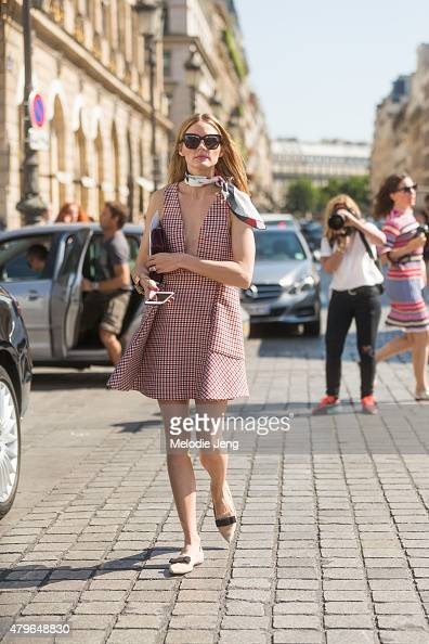 Olivia Palermo exits the Schiaparelli show at Hotel d'evreux on July 6 2015 in Paris France
