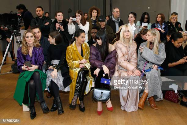 Olivia Palermo Gilda Ambrosio guest Leaf Greener Linda Tol and Sofia Macks attend the Nina Ricci show as part of the Paris Fashion Week Womenswear...