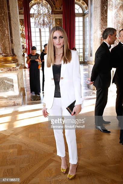 Olivia Palermo is pictured during a private tour of the iconic Palace of Versailles during Martell Cognacs 300th anniversary event On May 20 2015 in...