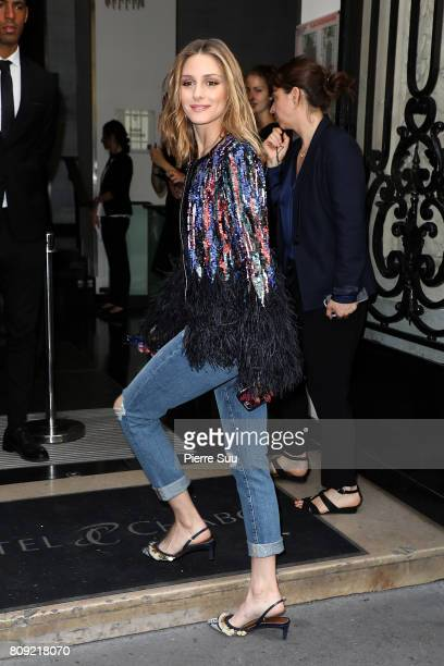Olivia Palermo is seen arriving at Elie Saab fashion show during the Paris Fashion Week Haute Couture Fall/Winter 20172018 on July 5 2017 in Paris...