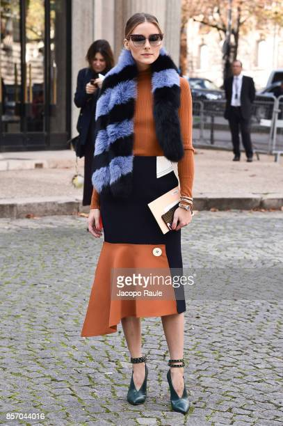 Olivia Palermo is seen arriving at Miu Miu show during Paris Fashion Week Womenswear Spring/Summer 2018 on October 3 2017 in Paris France