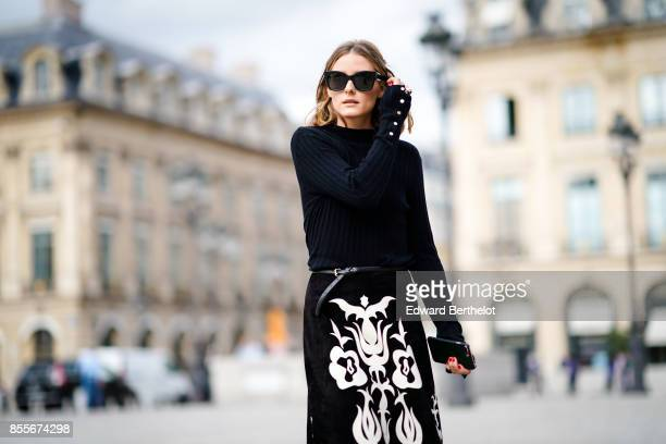 Olivia Palermo is seen during Paris Fashion Week on September 29 2017 in Paris France