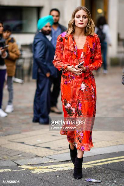 Olivia Palermo is seen outside Preen by Thornton Bregazzi during London Fashion Week September 2017 on September 17 2017 in London England
