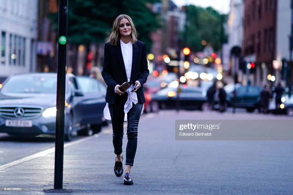 Olivia Palermo is seen, outside the Burberry show, during London Fashion Week September 2017 on September 16, 2017 in London, England.