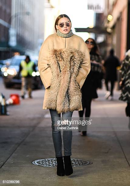 Olivia Palermo is seen outside the Jonathan Simkhai show wearing a Prabal Gurung fur coat during New York Fashion Week Women's Fall/Winter 2016 on...
