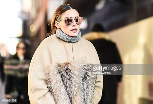 Olivia Palermo is seen outside the Jonathan Simkhai show wearing a Prabal Gurung fur coat during New York Fashion Week Women's Fall/Winter 2016 on...