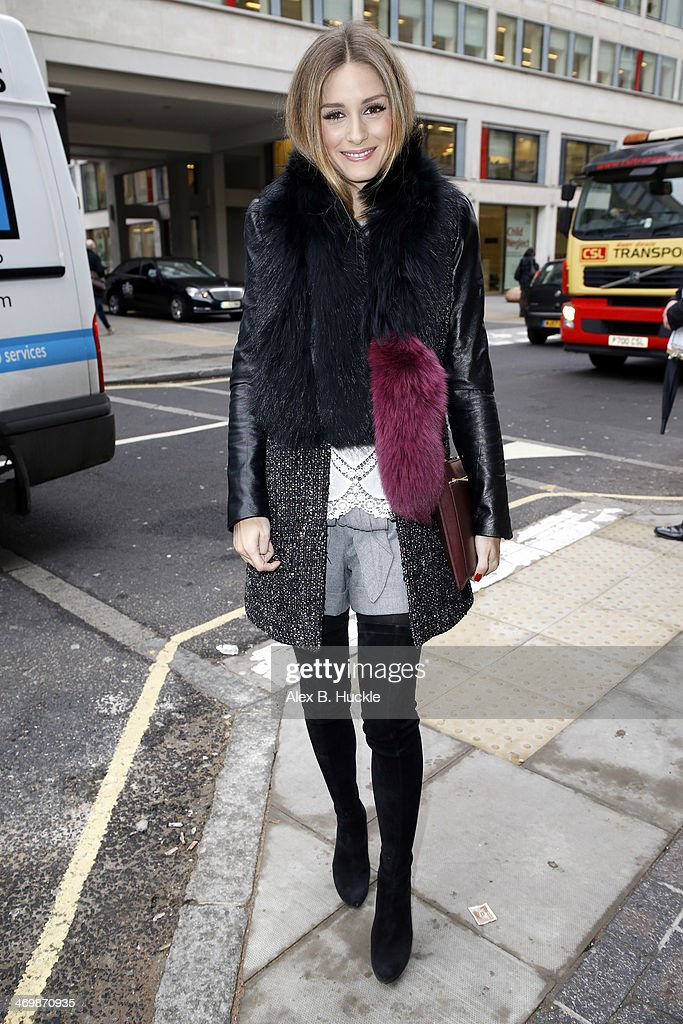 Olivia Palermo is sighted arriving at Antonio Beradi A/W 2014 show held at the Grand Connaught Rooms during London Fashion Week on February 17 2014...