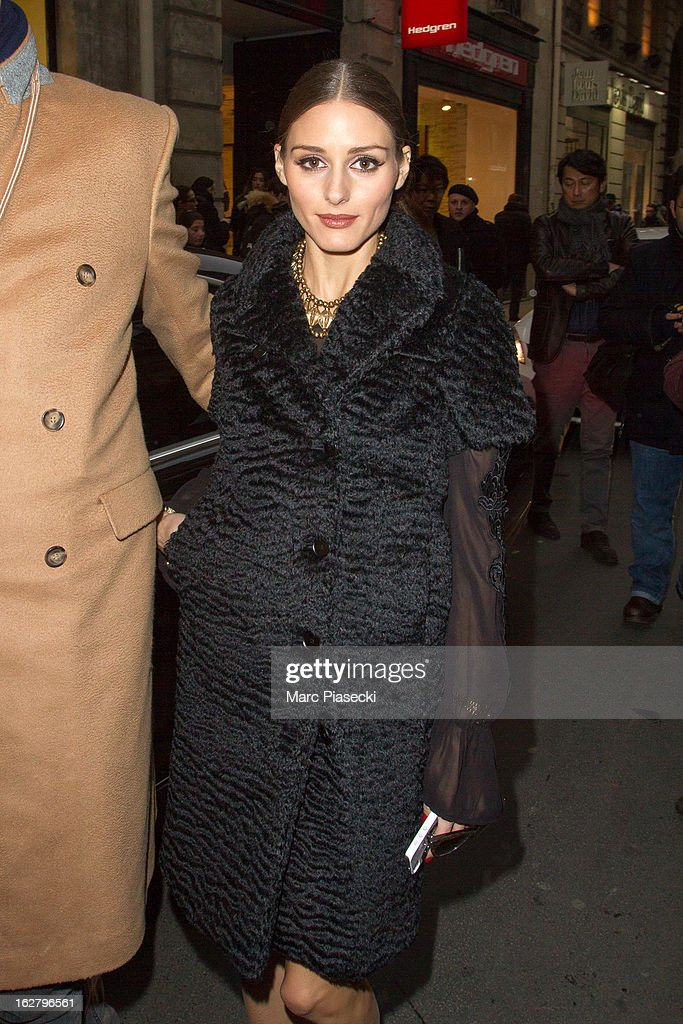 Olivia Palermo is sighted at the 'Rochas' Fall/Winter 2013 Ready-to-Wear show as part of Paris Fashion Week on February 27, 2013 in Paris, France.