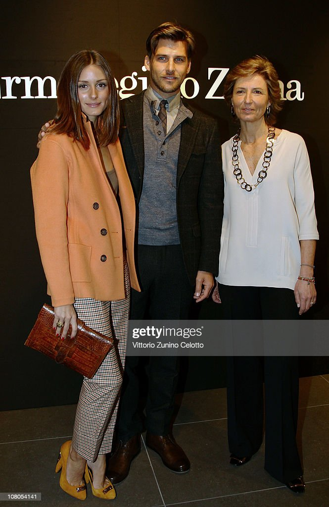 <a gi-track='captionPersonalityLinkClicked' href=/galleries/search?phrase=Olivia+Palermo&family=editorial&specificpeople=2639086 ng-click='$event.stopPropagation()'>Olivia Palermo</a>, <a gi-track='captionPersonalityLinkClicked' href=/galleries/search?phrase=Johannes+Huebl&family=editorial&specificpeople=5696811 ng-click='$event.stopPropagation()'>Johannes Huebl</a> and Anna Zegna attend the Ermenegildo Zegna Milan Fashion Week Menswear A/W 2011 show on January 15, 2011 in Milan, Italy.
