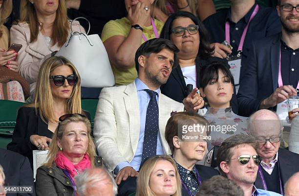 Olivia Palermo Johannes Huebl and Daisy Lowe attend day four of the Wimbledon Tennis Championships at Wimbledon on June 30 2016 in London England