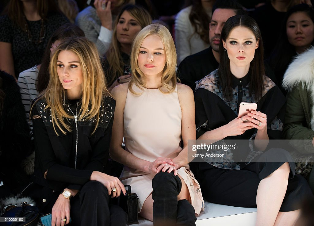 <a gi-track='captionPersonalityLinkClicked' href=/galleries/search?phrase=Olivia+Palermo&family=editorial&specificpeople=2639086 ng-click='$event.stopPropagation()'>Olivia Palermo</a>, <a gi-track='captionPersonalityLinkClicked' href=/galleries/search?phrase=Kate+Bosworth&family=editorial&specificpeople=201616 ng-click='$event.stopPropagation()'>Kate Bosworth</a> and <a gi-track='captionPersonalityLinkClicked' href=/galleries/search?phrase=Coco+Rocha&family=editorial&specificpeople=4172514 ng-click='$event.stopPropagation()'>Coco Rocha</a> attend Rebecca Minkoff during Fall 2016 New York Fashion Week: The Shows at The Gallery, Skylight at Clarkson Sq on February 13, 2016 in New York City.