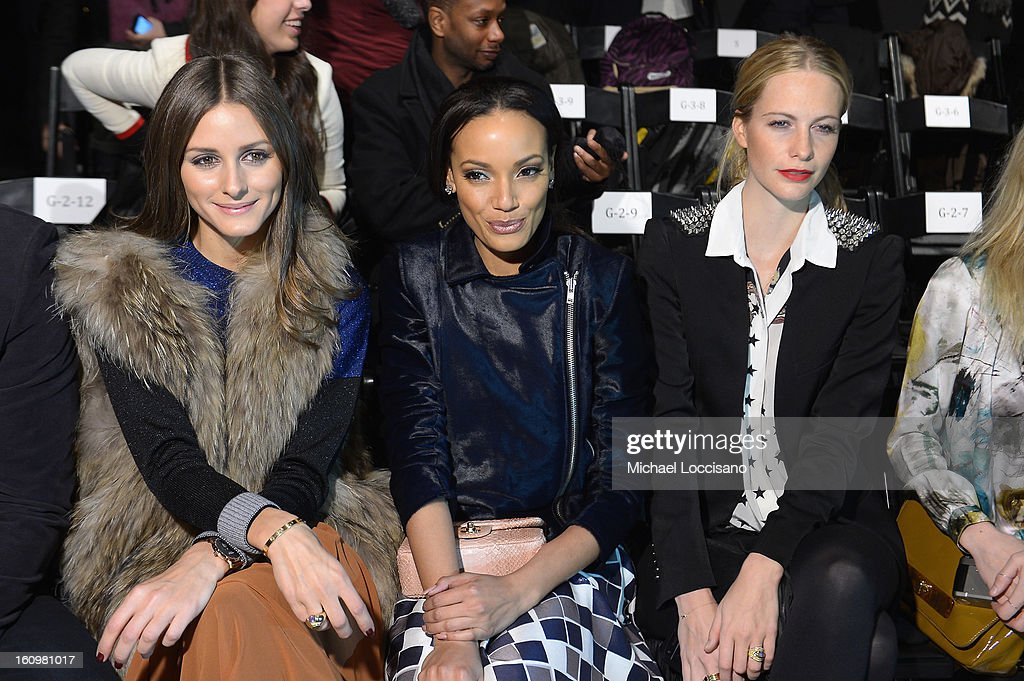 <a gi-track='captionPersonalityLinkClicked' href=/galleries/search?phrase=Olivia+Palermo&family=editorial&specificpeople=2639086 ng-click='$event.stopPropagation()'>Olivia Palermo</a>, Model <a gi-track='captionPersonalityLinkClicked' href=/galleries/search?phrase=Selita+Ebanks&family=editorial&specificpeople=619483 ng-click='$event.stopPropagation()'>Selita Ebanks</a> and Model <a gi-track='captionPersonalityLinkClicked' href=/galleries/search?phrase=Poppy+Delevingne&family=editorial&specificpeople=2348985 ng-click='$event.stopPropagation()'>Poppy Delevingne</a> attend the Noon By Noor Fall 2013 fashion show during Mercedes-Benz Fashion at The Studio at Lincoln Center on February 8, 2013 in New York City.