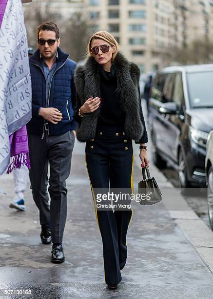 Olivia Palermo outside Elie Saab during the Paris Fashion Week Haute Couture Spring/Summer 2016 on January 27 2016 in Paris France