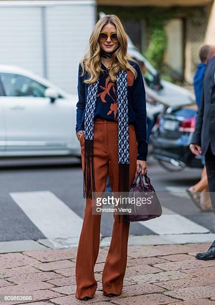 Olivia Palermo outside Max Mara during Milan Fashion Week Spring/Summer 2017 on September 22 2016 in Milan Italy