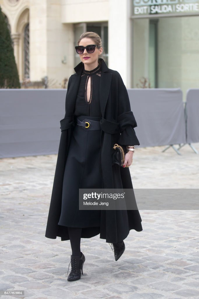 Olivia Palermo outside the Dior show on March 3, 2017 in Paris, France.