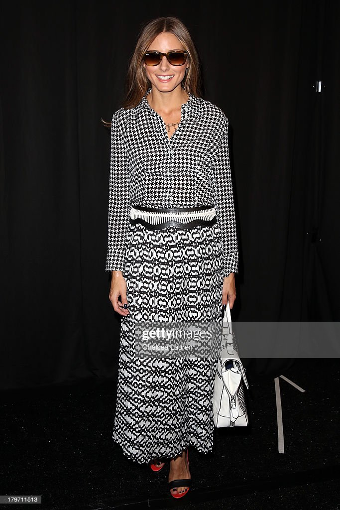 Olivia Palermo poses backstage at the Rebecca Minkoff Spring 2014 fashion show during Mercedes-Benz Fashion Week at The Theatre at Lincoln Center on September 6, 2013 in New York City.
