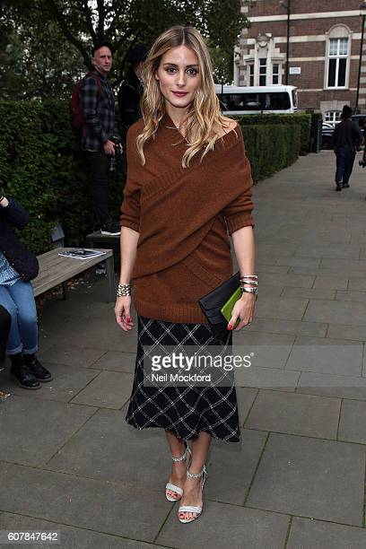 Olivia Palermo seen arriving at Christopher Kane on Day 4 of London Fashion Week Spring/Summer 2017 on September 19 2016 in London England