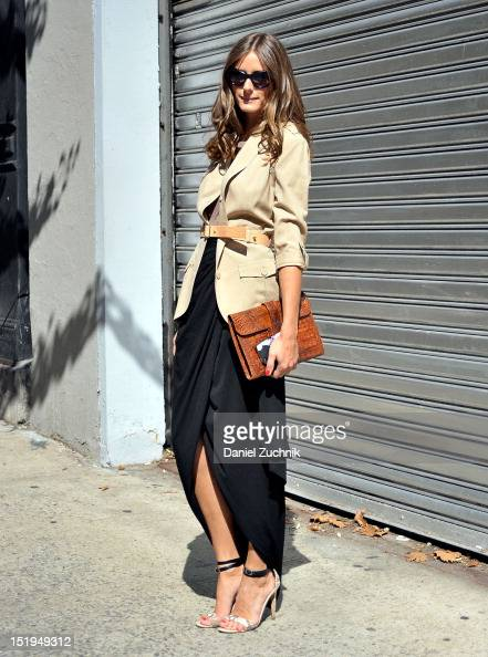 Olivia Palermo seen outside the Elizabeth and James show wearing a vintage jacket and top with a Rachel Zoe skirt on September 12 2012 in New York...