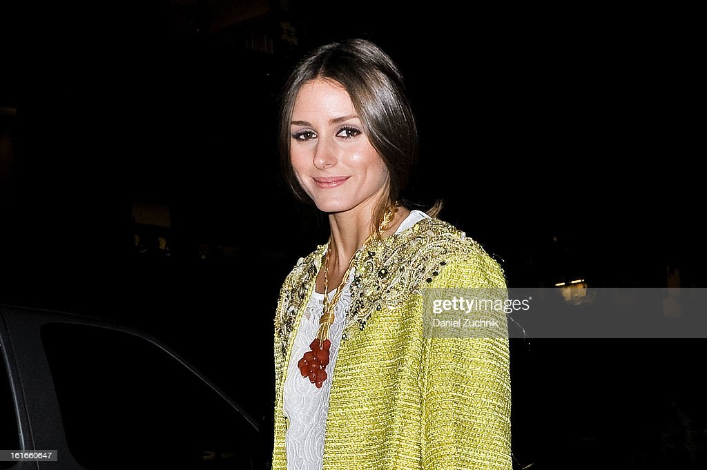 <a gi-track='captionPersonalityLinkClicked' href=/galleries/search?phrase=Olivia+Palermo&family=editorial&specificpeople=2639086 ng-click='$event.stopPropagation()'>Olivia Palermo</a> seen outside the Marchesa show wearing a Marchesa coat on February 13, 2013 in New York City.