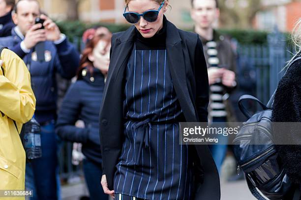 Olivia Palermo seen outside Topshop during London Fashion Week Autumn/Winter 2016/17 on February 21 2016 in London England