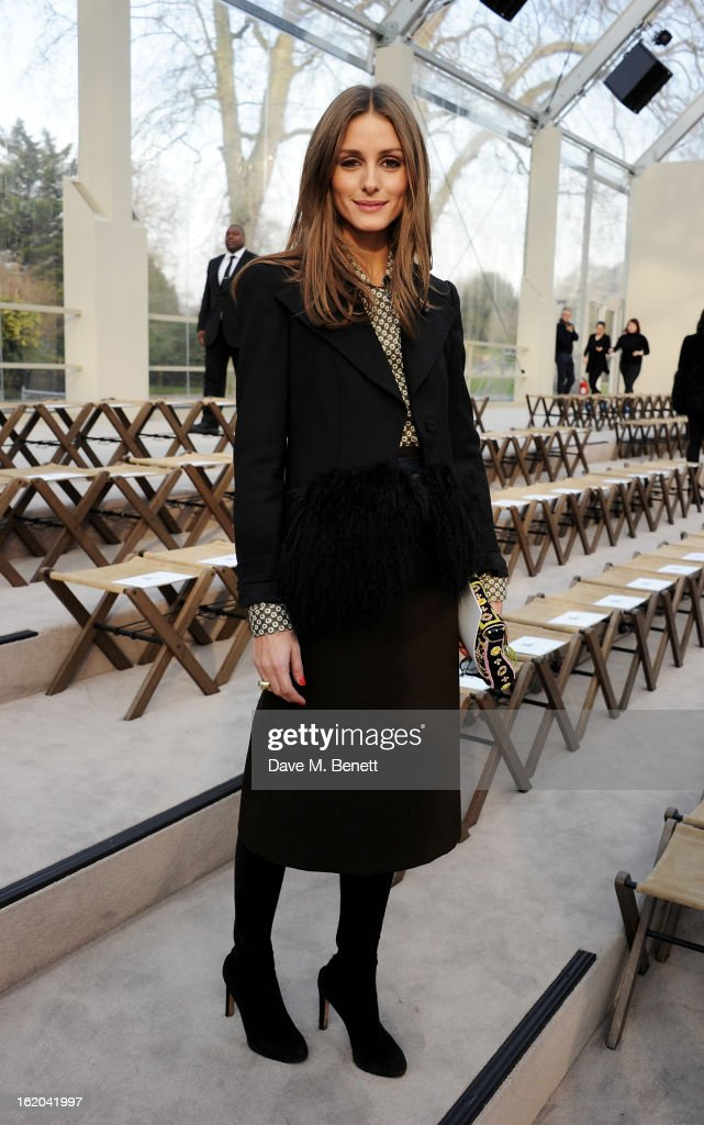 Olivia Palermo the Burberry Prorsum Autumn Winter 2013 Womenswear Show at Kensington Gardens on February 18, 2013 in London, England.