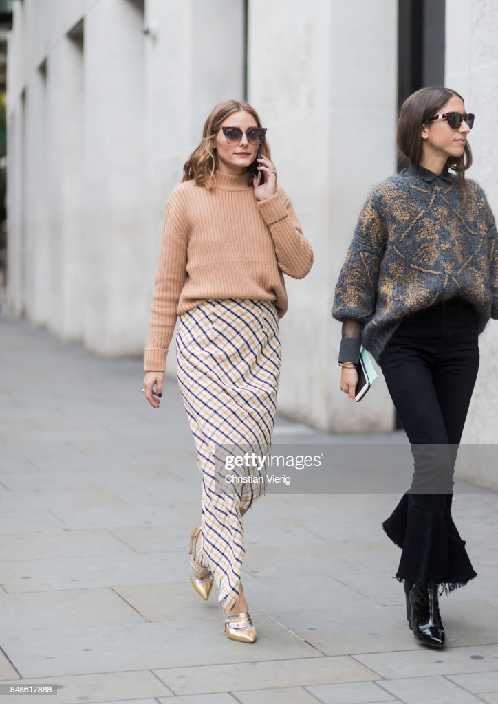 Olivia Palermo wearing beige knit, skirt outside Peter Pilotto during London Fashion Week September 2017 on September 17, 2017 in London, England.
