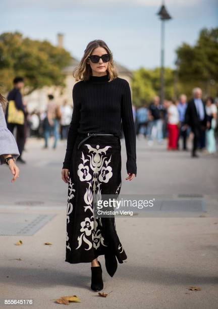Olivia Palermo wearing black knit black white skirt is seen outside Nina Ricci during Paris Fashion Week Spring/Summer 2018 on September 29 2017 in...