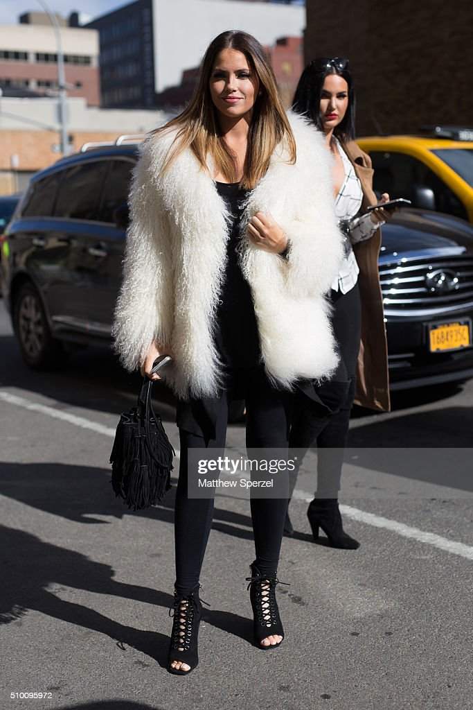Olivia Pierson and <a gi-track='captionPersonalityLinkClicked' href=/galleries/search?phrase=Natalie+Halcro&family=editorial&specificpeople=14009348 ng-click='$event.stopPropagation()'>Natalie Halcro</a> are seen at Rebecca Minkoff during New York Fashion Week: Women's Fall/Winter 2016 on February 13, 2016 in New York City.