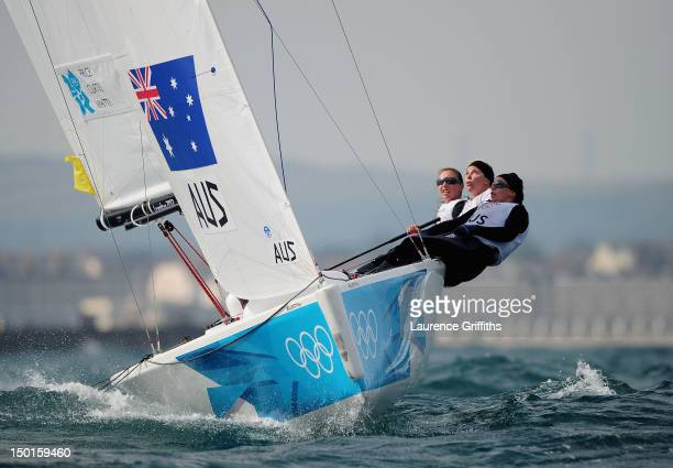 Olivia Price Nina Curtis and Lucinda Whitty of Australia compete on their way to winning the silver medal in the Women's Elliott 6m WMR Sailing on...