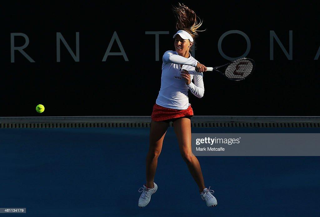Olivia Rogowska of Australia hits a forehand in her second round match against Bojana Jovanovski of Serbia during day three of the Moorilla Hobart International at Domain Tennis Centre on January 7, 2014 in Hobart, Australia.