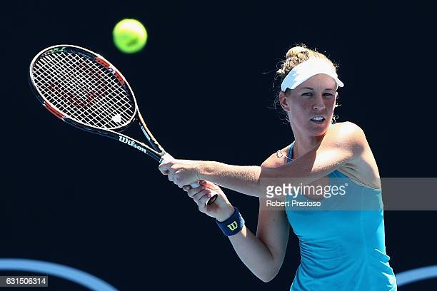 Olivia Rogowska of Australia plays a backhand in her 2017 Australian Open Qualifying match against Cindy Burger of Netherlands at Melbourne Park on...