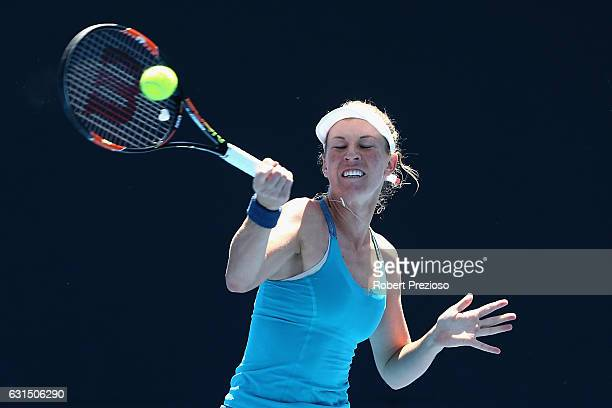 Olivia Rogowska of Australia plays a forehand in her 2017 Australian Open Qualifying match against Cindy Burger of Netherlands at Melbourne Park on...