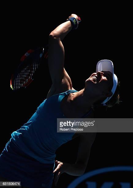 Olivia Rogowska of Australia serves in her 2017 Australian Open Qualifying match against Cindy Burger of Netherlands at Melbourne Park on January 12...