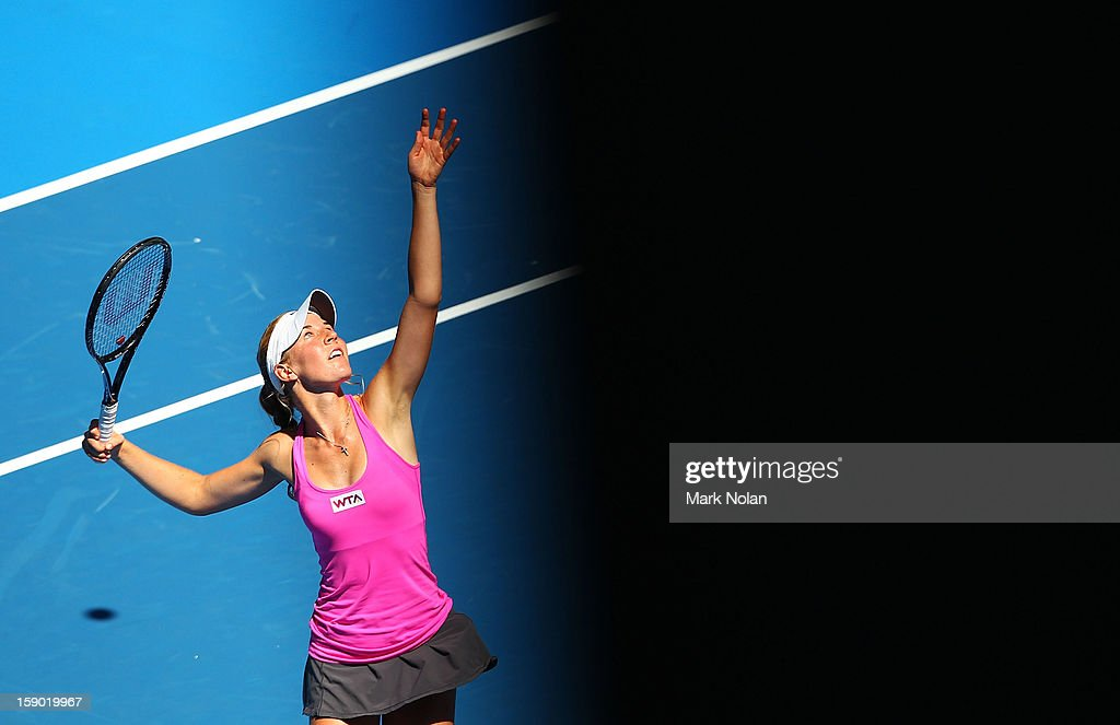 <a gi-track='captionPersonalityLinkClicked' href=/galleries/search?phrase=Olivia+Rogowska&family=editorial&specificpeople=4698702 ng-click='$event.stopPropagation()'>Olivia Rogowska</a> of Australia serves in her first round match against Maria Kirilenko of Russia during day one of the Sydney International at Sydney Olympic Park Tennis Centre on January 6, 2013 in Sydney, Australia.