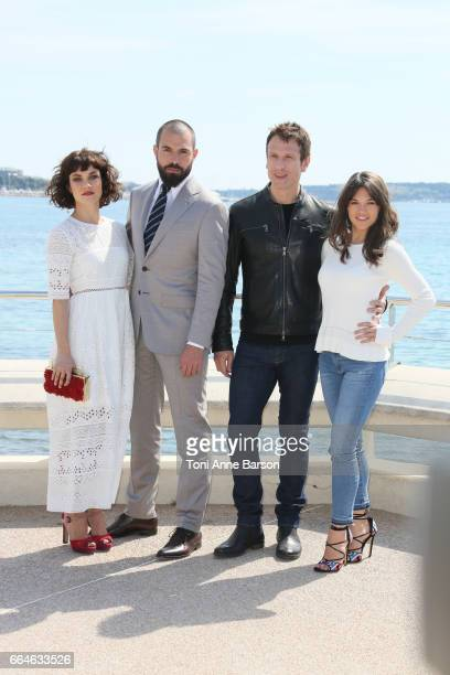 Olivia Ross Tom Cullen Simon Merrells and Sabrina Bartlett attend 'Knightfall' photocall during MIPTV 2017 on April 4 2017 in Cannes France