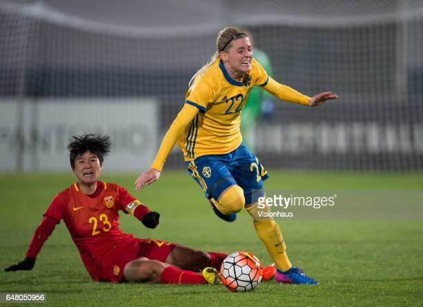 Olivia Schough of Sweden and Ren Guixin of China during the Group C 2017 Algarve Cup match between China Women and Sweden Women at the Vila Real de...