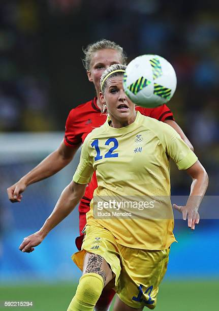 Olivia Schough of Sweden controls the ball during the Women's Olympic Gold Medal match between Sweden and Germany at Maracana Stadium on August 19...