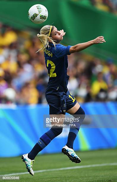 Olivia Schough of Sweden in action during the Olympic Womens Semi Final Football match between Brazil and Sweden at Maracana Stadium on August 16...